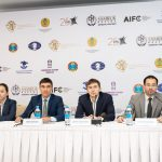 Pressekonferenz vor dem Turnier im Astana International Financial Center
